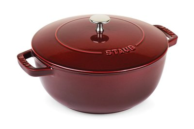 法國 Staub 24cm 多功能水滴型 鑄鐵鍋 媽咪鍋 勾紋鍋  水滴  (石榴紅) 預購