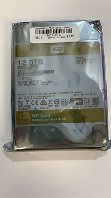 全新 美水 Western Digital Gold 12TB, 256MB Cache,氦氣封裝