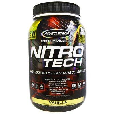 MUSCLETECH NITRO-TECH 香草口味 分離式乳清蛋白增肌粉  2磅(907 公克)裝