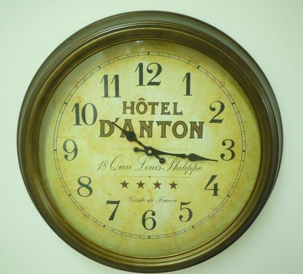 HOTEL仿古銅鐵製掛鐘 阿拉伯數字圓鐘 復古歐風裝飾掛鐘 時鐘[布拉格家居]