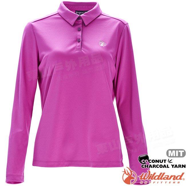 Wildland 荒野 0A71661-50粉紫色 女椰炭紗本布領長袖上衣 椰碳纖維/抗UV/涼爽散熱/POLO衫*