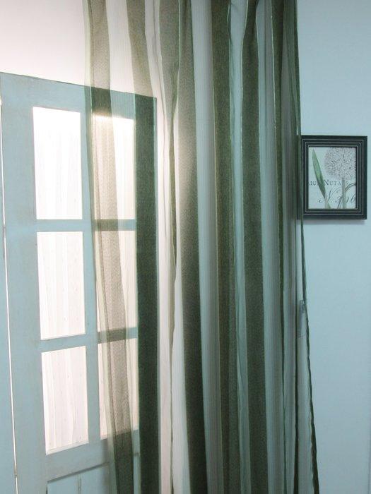 [W068]窗簾 窗紗  No.15墨綠粗條紗  特價出清  無接縫紗 時尚 神秘