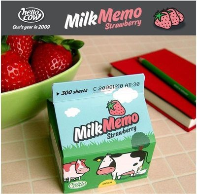 【象牙 Cute Ta】韓國 Hello Cow Milk Memo(Strawberry) 草莓牛奶 便條紙