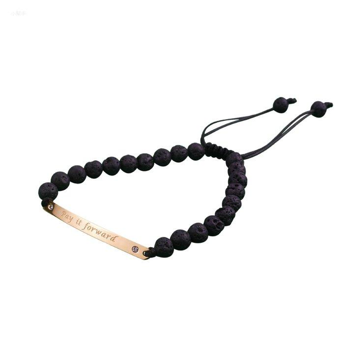 女士時尚鈦鋼硅膠珠手鏈穿小彎牌手鏈皮繩可調節款式 新麗小舖