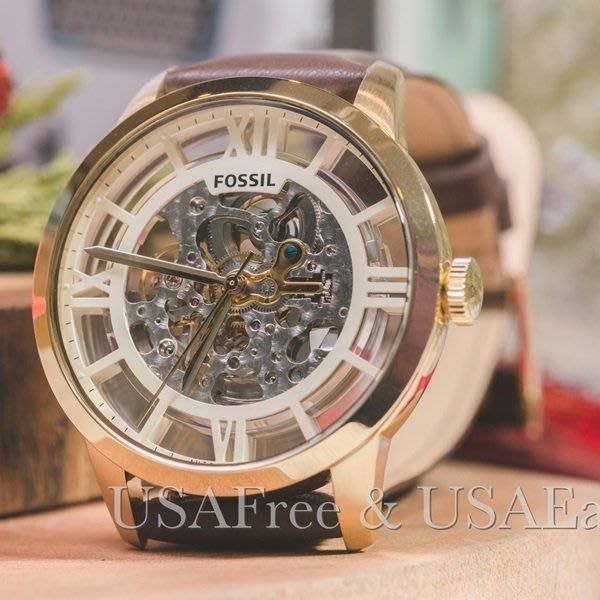 【USAFree】【Fossil】美國正品►代購 ME3043 Fossil 復古時尚雅痞鏤空機械錶