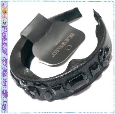 ☆POLLY媽☆歐美BEJEWELED Scarf Headband縫綴各型寶石黑色皮質頭巾式髮箍