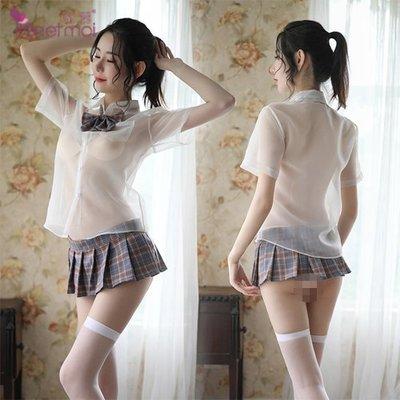 學生角色扮演服!透視襯衫格子百褶裙五件式套裝﹝灰格﹞