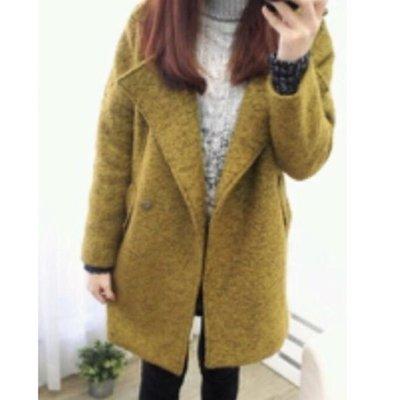 毛呢大衣外套 翻領 寬鬆 芥末色 全新