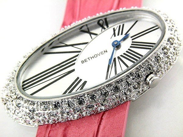 @(六四三鐘錶精品店)@貝多芬(真品)豪華愛不協調面盤珠寶錶...外框有超亮水鑽..粉紅