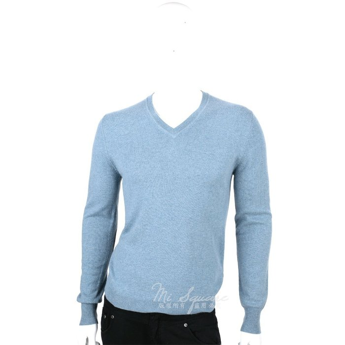 米蘭廣場 ALLUDE 100% CASHMERE 肘拼接設計V領毛衣(藍綠色) 1440552-16