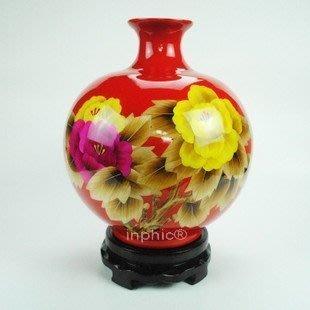 INPHIC-ZF-D117 景德鎮紅色鑲金牡丹石榴瓶 瓷花瓶 家居裝飾