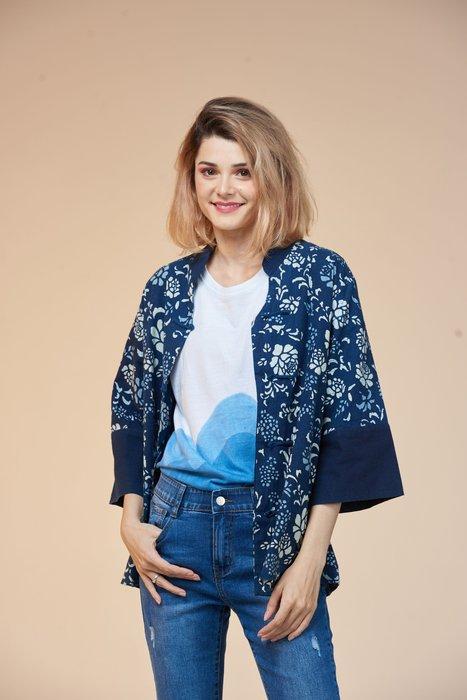 !中國藍Anewei藍染三色玫瑰對襟衫-F-襯衫.外罩衫.外套-萊爾富免運