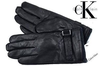 CK Calvin Klein 手套 凱文克萊 設計 黑色真皮 L 【以靡賣場 現貨正品】
