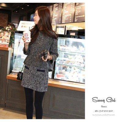 長袖裙裝*Sunny Girl*韓系小香風大尺碼二件式套裝包臀短裙 2019一月 - [ST0051]