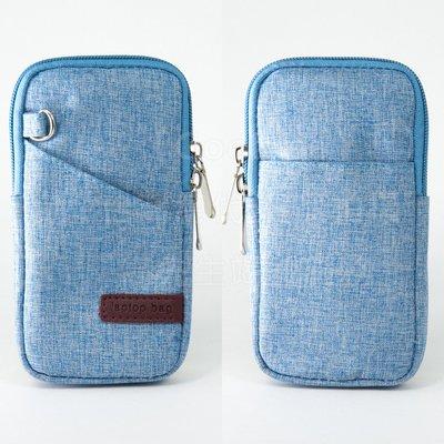 【GooMea】3免運 Apple 蘋果 iPhone Xs 5.8吋手機套 亞麻布拉鍊款 手拿袋手機殼 手拿斜背 淺藍