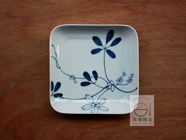 +佐和陶瓷餐具批發+【XL071213-15橘吉藍染角皿-日本製】日本製 角皿 方盤 蛋糕盤 取皿 招待器皿