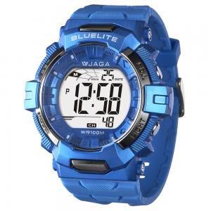 【元電】【JAGA 專賣店】台灣設計 捷卡 M979B-E (藍) 電子錶 大數字 倒數計時 鬧鈴 兩地時間