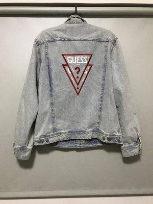 Guess x asap rocky 藍色刷色 牛仔外套 A$AP GUE$$