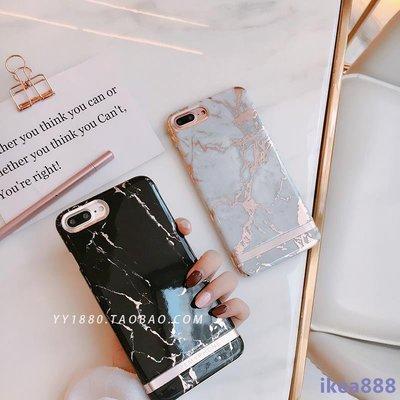 韓風奢華創意玫瑰金邊大理石 iPhone6s手機殼蘋果7plus光面硬殼潮