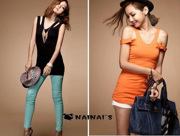 【NAINAIS】NewStar‧R 5009 VIVI 韓版熱賣單品 兩穿 SRXY露肩V吊帶長版背心 橘色下標區