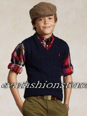 【Polo Ralph Lauren】大男童 針織毛衣背心 小馬刺繡 針織背心 針織衫 V領毛衣背心 深藍色