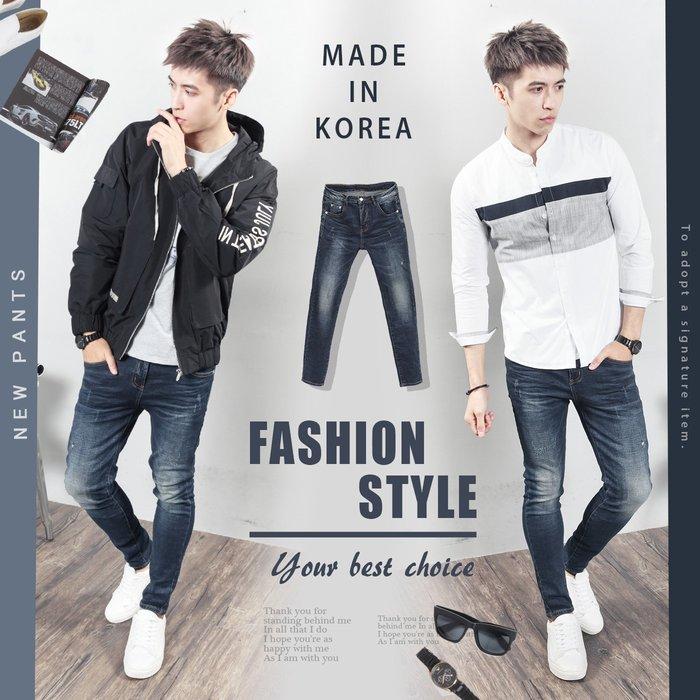 。SW。【K91608】正韓D.CR 韓國製 修身 微抽鬚 深藍刷白 彈性佳 彈性單寧布 窄版 彈性牛仔單寧褲 GD