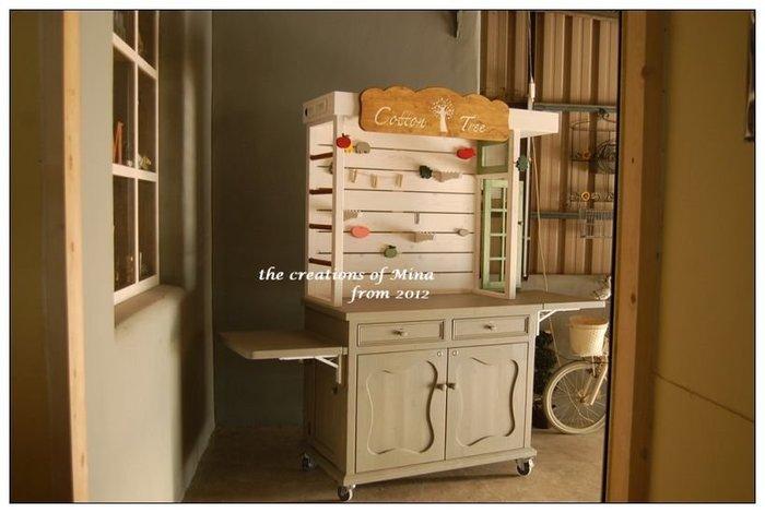 米娜天然直感手作-攤車系列1*展示櫃天然直感鄉村家具設計訂做