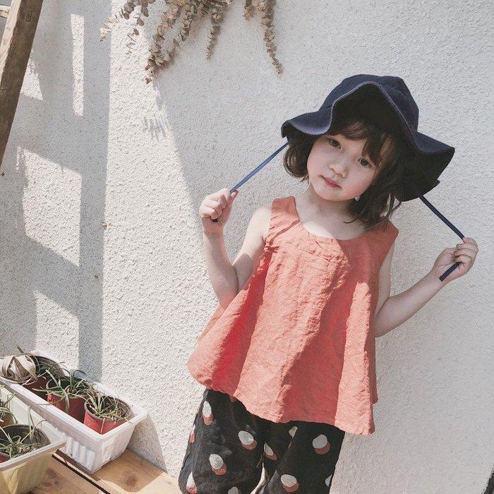 【溜。溜。選物】春夏新款*1+1小童寬鬆無袖上衣+印花縮口七分褲套裝兩件組