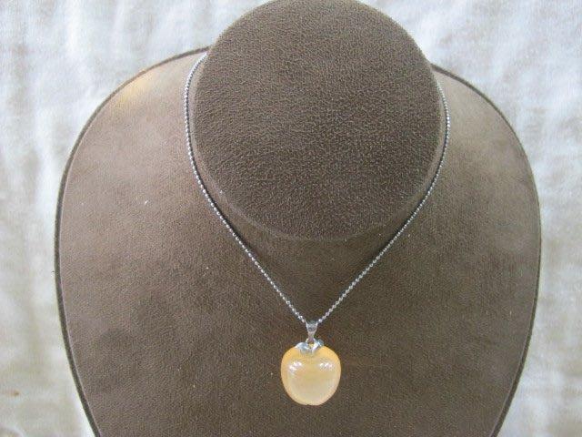 二手舖 NO.3955 天然玉石 玉髓項鍊 蘋果墜子 鍊子 首飾飾品