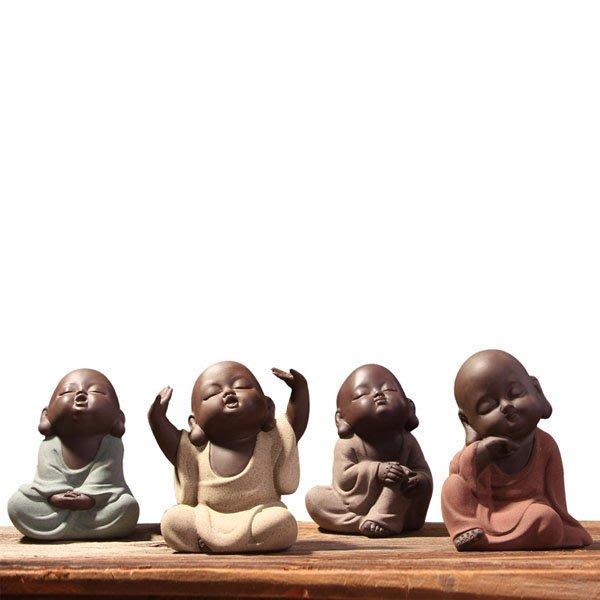 5Cgo【茗道】含稅會員有優惠 37593865672茶寵小和尚彩砂紫砂茶具配件精美手工擺件茶具茶壺泡茶-可愛佛四款各一