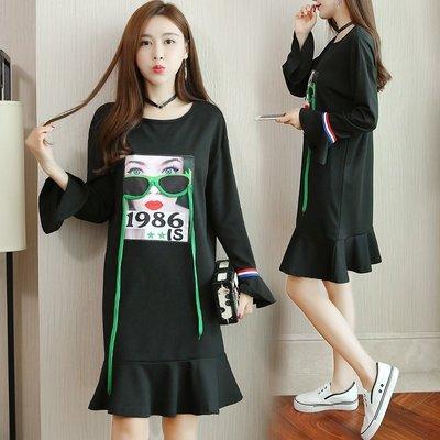 GOGO SHOP☆╭韓版新款 時尚印花圓領洋裝 荷葉袖連身裙【Y1560】XL~5XL個性卡通印花寬鬆大尺碼女裝