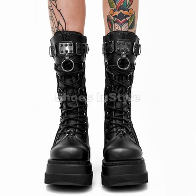 Shoes InStyle《四吋》美國品牌 DEMONIA 原廠正品龐克蘿莉鉚釘金屬板厚底楔型中長靴 有大尺碼『黑色』