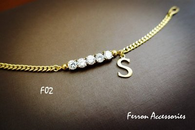 Ferron Accessories   F02小圓鋯石字母手鍊 訂製 Handmade 復古 歐美 黃銅