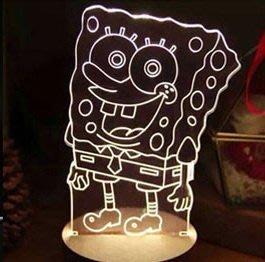 《鐵鐫創意》立體3D視覺光雕櫸木座燈‧小夜燈‧療癒氣氛燈-聖誕禮物‧情人節禮物‧生日禮物‧喬遷新居賀禮-海綿寶寶款