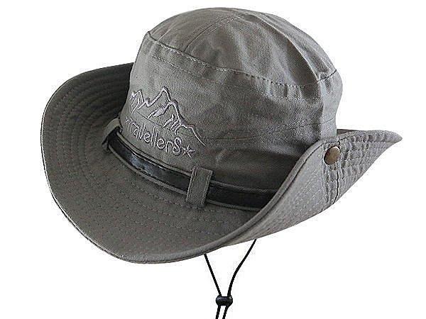 【二鹿帽飾】TravellerS 山形 / 布水洗牛仔漁夫帽/ 男女款式/皮帶款-鐵灰 /登山專用帽.賞鳥帽
