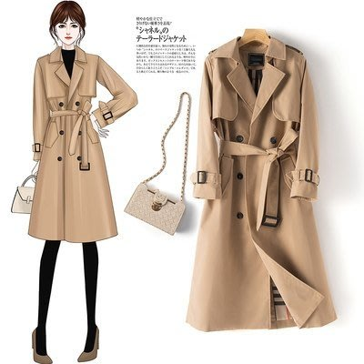 外套開衫大衣M-3XL新款三十而已顧佳同款中長款氣質風衣女大碼外套1F164-0817.