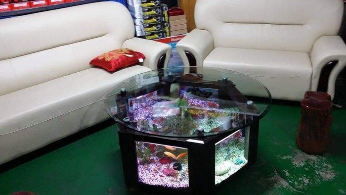 泡茶桌~造型水族箱 玻璃桌面水族箱 (藝術造型水族箱)28888 只有一個全新正品 茶几