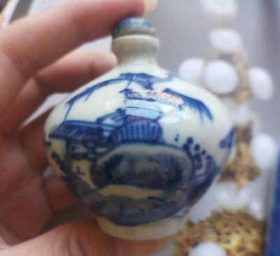 老件~哥窯鼻煙壺《手繪釉上青花瓷》~2件一標