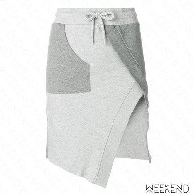 【WEEKEND】 EACH X OTHER 拼接 開岔 不規則 短裙 窄裙 灰色