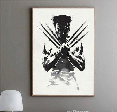 X|設|計 金剛狼羅根logan電影海報掛畫創意黑白手繪風格版畫掛畫漫威英雄人物X戰警電影海報裝飾畫家居禮品店面裝飾畫