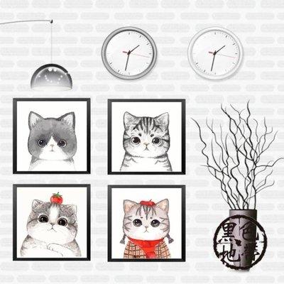 diy數字油畫動物卡通呆萌貓咪填色手繪畫客廳裝飾畫三拼三聯