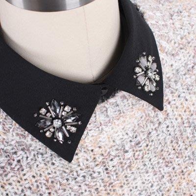 假領子 襯衫 領片-水鑽釘珠雪紡小方領女裝配件2色73va21[獨家進口][米蘭精品]