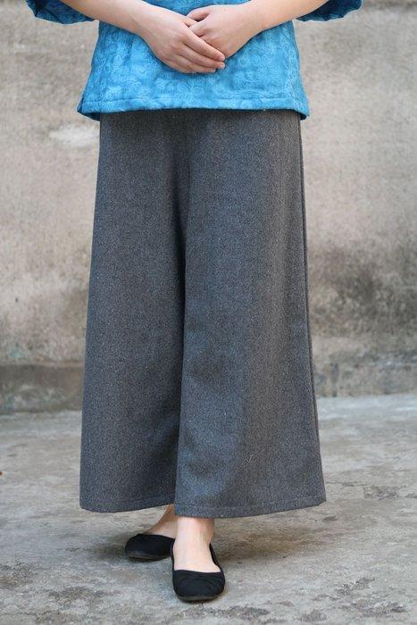 (老銀屋)冬季毛呢直筒褲/半鬆緊腰毛呢百搭九分褲