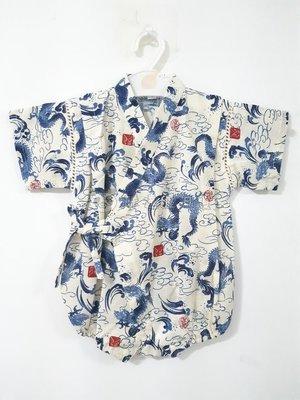 ✪胖達屋日貨✪包屁衣 70cm 米底 龍神 印章 日本 男 寶寶 兒童 和服 浴衣 甚平 抓周 收涎 攝影