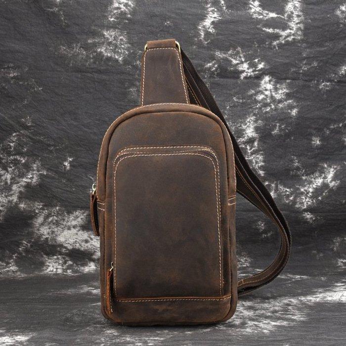 [包妳喜歡]新款復古真皮男士瘋馬皮胸包牛皮男士斜挎包運動挎包休閑單肩包011
