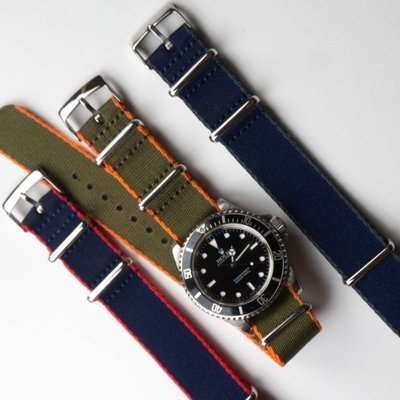 NATO 北約尼龍軍事錶帶 細緻帆布 海軍藍紅 黑白 卡其軍綠橘 灰滾邊 消光不鏽鋼 MA1 現貨 Omega 20mm