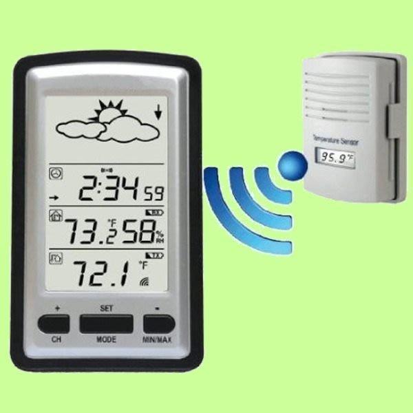 5Cgo【代購】KG218綠背光 無線室內和室外環境氣候數字溫度計/室內濕度 天氣預報 電子鐘鬧鐘 含稅會員扣5%