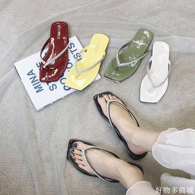 好物多商城 簡約拖鞋女夏季外穿ins韓版學生原宿風水鉆平底超火涼拖