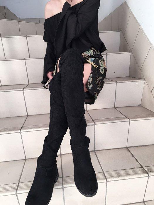 【鳳眼夫人】訂製 真皮羊皮 彈力內增高加縫鬆緊帶 膝上靴 女神必備 秋冬必買過膝長靴