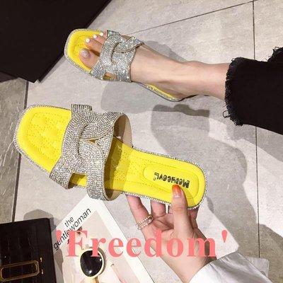 Freedom~女鞋女士拖鞋2019夏季新款仙女風時尚水鉆綁帶透氣防滑軟底涼拖鞋外穿